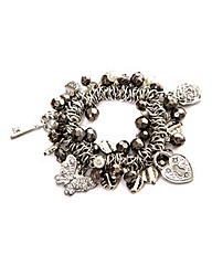 Charm And Cluster Bead Stretch Bracelet