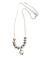 Beaded Necklace With Heart Charm