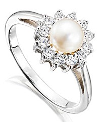 Silver and Cubic Zirconia Pearl Ring
