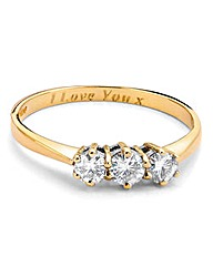 Moissanite 9 Carat Gold 1/2 Trilogy Ring