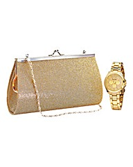 Ladies Gold-tone Watch and Evening Bag
