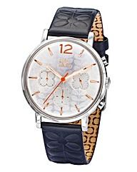 Orla Kiely Black Leather Strap Watch