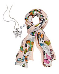 Butterfly Jewellery Set With Free Scarf