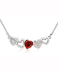 Spangles Red Crystal Hearts Necklace