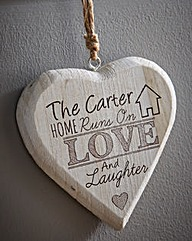 Personalised Love Laughter Wooden Heart