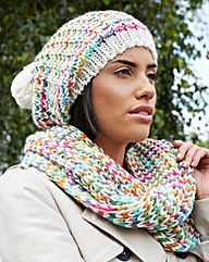 Pom Pom Knitted Hat & Snood