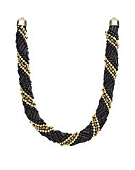 Mood Jet And Gold Beaded Twist Necklace
