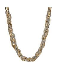 Mood Two Tone Mix Metal Plait Necklace