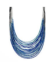 Mood Blue Tonal Bugle Bead Necklace