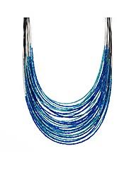 Mood Blue Tonal Bugle Bead Necklace