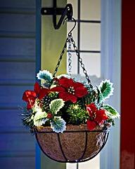 Poinsettia Lit Hanging Basket