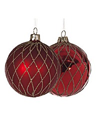 Set of 4 Red & Gold Cross Glass Baubles