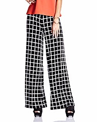 Black Print Jersey Wide Leg Trousers