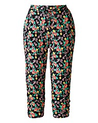 Cropped Tapered Trousers - Black Floral
