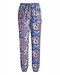 Ornate Folk Print Woven Harem Trousers