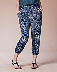 Cropped Ornate Folk Print Woven Joggers
