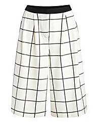 Simply Be Wide Leg Culottes -White Check