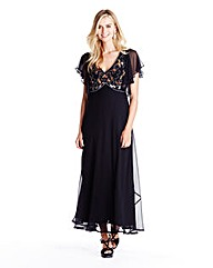 Beaded Angel Sleeve Maxi Dress