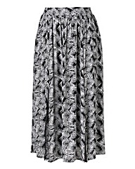 Split Front Midi Skirt - Black Print