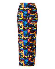 Multi Print Maxi Tube Skirt