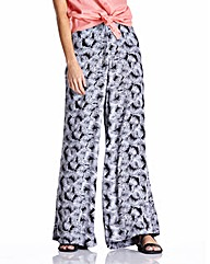 Black Print Wide Leg Trousers Long