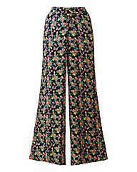 Black Floral Wide Leg Trousers Reg