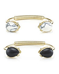 Mood Two Pack Semi Precious Style Cuffs