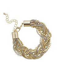 Mood Two Tone Metal Plait Bracelet