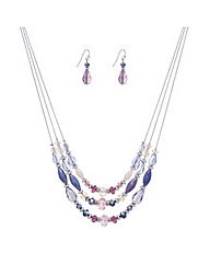 Mood Three Row Purple Beaded Set