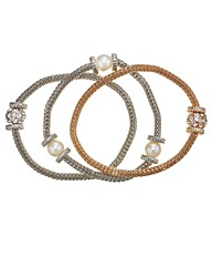 Mood Three Pack Mesh And Pearl Bracelets