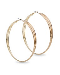 Mood Textured Large Twist Hoop Earring