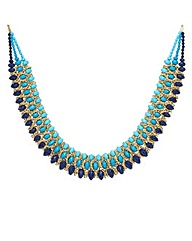 Mood Blue Tonal Beaded Collar Necklace