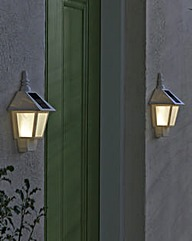 Set of 2 Solar Powered Wall Lights