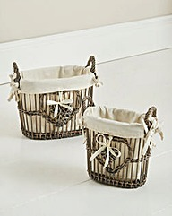 Willow Heart Set of 2 Baskets