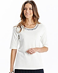 Round Neck Jersey Top with Bead Detail