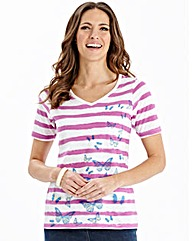 Stripe Jersey Top with placement print