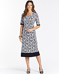 V Neck Printed Jersey Dress