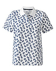 Butterfly Print Collared Polo Shirt