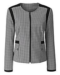 Collarless Check Jacket