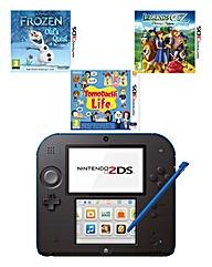 Nintendo 2DS Black and Blue Bundle