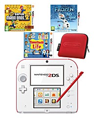 2DS White&Red Console & Games Bundle