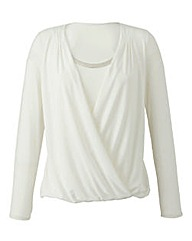 Nightingales Jersey Wrap Top with Trim