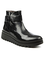 Fly London Black Buckle Wedge Ankle Boot