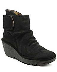 Fly London Rouched Wedge Ankle Boot