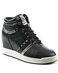 Ash Black Studded Wedge High Top Trainer