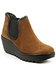 Fly London Tan Mid Wedge Chelsea Boot