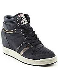 Ash Navy Studded Wedge High Top Trainer
