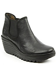 Fly London Black Mid Wedge Chelsea Boot
