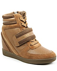 Armani Jeans Beige Wedge HighTop Trainer