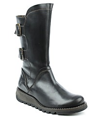 Fly London Black Low Wedge Calf Boot